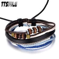 Ttstyle Blue Multi Stripe Leather Wood Bead Bracelet Wristband New
