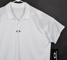 Oakley Hydrolix Men's Sz 2XL Snap White Gray Short Sleeve Golf Polo Shirt NWT