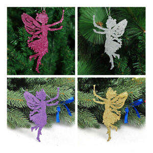 10X Angel Fairy Glitter Christmas Party Decorations Xmas Tree Hanging Ornaments