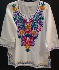 Mexican White Embroidery  V neck line bohemian Tunic Blouse 3/4 sleeve size M