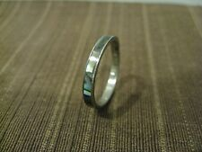 RING SIZE 7.5 SILVER TONED METAL WITH MOTHER OF PEARL/ABALONE SHELL INLAID