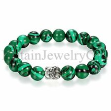 10mm Men Women Green Energy Gemstone Malachite Buddha Mala Beads Beaded Bracelet