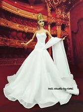 Eaki Handmade White Evening Dress Outfit Gown For Silkstone Fashion Royalty FR