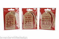 Set of 4 Vintage Luggage Style Christmas Gift Label Tags - Reindeer Mail