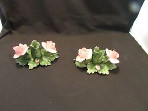 VINTAGE  pretty floral style Italy taper candle stick holders Nuova Capodimonte
