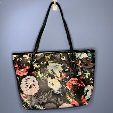 Nine West Black Floral Handbag Purse Faux Leather Tote Bag Black
