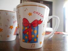 Holiday Gifts Mug 12 oz Christmas Cheer Genuine Stoneware White Red Yellow !