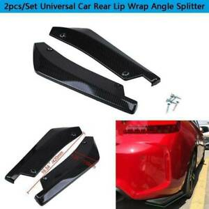 2pcs Carbon Fiber Rear Bumper Lip Side Skirt Winglets Canards Universal For BMW