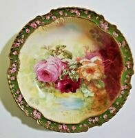 """RARE Limoges Coronet Roses Gold Gilded Bowl 10.25"""" Signed by Artist"""