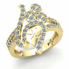 Band Fancy Right Hand Ring 18K Gold Real 1.00Ct Round Cut Diamond Womens Bridal