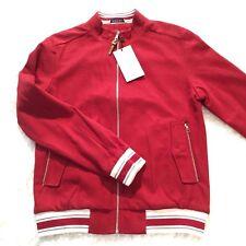 Zara Man Mens Jacket Medium Burgundy Preppy Varsity Casual Zipper Pockets White