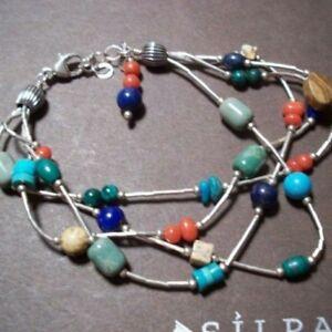 SILPADA B0788 Lapis Turquoise Jasper Coral Seed Bead Bracelet - RARE Multistrand