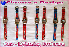 Kids DISNEY CARS WRIST WATCH with hands BLUE or RED Stainless Back LIGHTNING New
