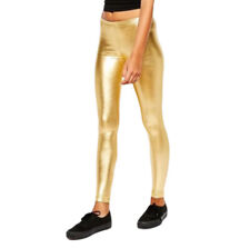 American Apparel Women's Size M Gold Disco Shiny High Waisted Leggings