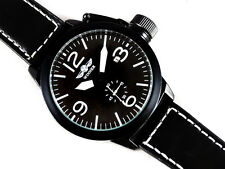 COOL AVIATOR Pilot's Black 46mm Aviator Canteen Automatic Steel Boat Watch Sub