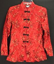 Notations Asian Chinese Jacket Top Womens Size Small Acetate Rayon Mulan Red