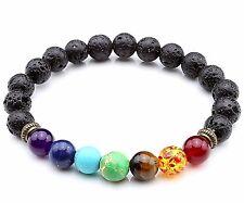 BazaarE* 7 Chakra Gemstone Lava Stone Crystal Reiki Healing Balancing Bracelet
