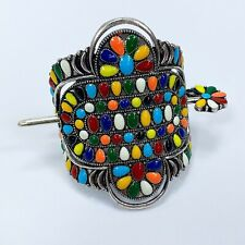 Western Style Silver Tone Multi Color Squash Blossom Design Hair Cuff with Pin
