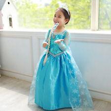 Girls Frozen Princess Elsa Queen Dress Up Costume Party Fancy Dress Cosplay 3-9T