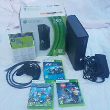 Xbox 360 Slim 250GB Console With 3 Game Bundle Minecraft Lego Jurassic World F1