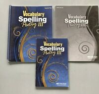 Abeka  9th Vocabulary Spelling Poetry III Student Book, Teacher Key & Quiz Key