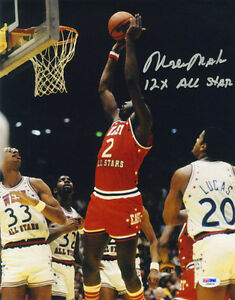 Moses Malone SIGNED 11x14 Photo +12 x All Star Game Philadelphia 76ers PSA/DNA