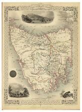 Tasmania Hobart Van Diemen's Land illustrated map John Tallis ca.1851
