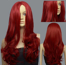 Series Dark Red Midpart Curly Wavy Cosplay DNA Wigs+Free Wig Cap g47