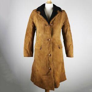 OAKLEAF Real Sheepskin Shearling Long Coat Size UK 8 S Winter Knee length button