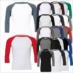 Unisex Triblend ¾ Sleeve Baseball T Shirt Contrast Raglan Slim Fit Tee Shirt TOP