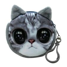 3D Cute Wallet Bag Animal Face Zipper Mini Cat Coin Purses Dog Purse Plush Good