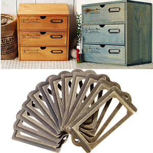20X Brass Drawer Cabinet Label Pull Frame Handle File Name Card Holder 40 Screws