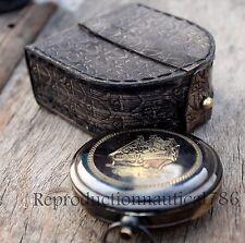 Handmade Brass Antique Ship Compass With case Nautical Navigation Camping Compas