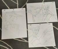 SET2 Jojo's Bizarre Adventure OVA Jotaro Polnareff Sketch Genga for Cel x3 Jojo