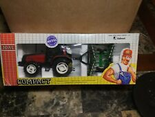 Vintage Joel Diecast 1:35 Valmet 8400 Red Tractor & Green Plow, Original Box
