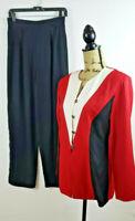 John Roberts Separates Red Black Color Block 2 Piece Pant Suit size 10 H92