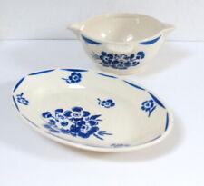 Ravier et saucier fleurs bleues anciens Badonviller
