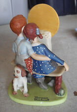 1980 Danbury Mint Porcelain Norman Rockwell Young Love Boy and Girl Figurine