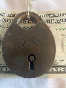 Antique Ritchie & Borden Brass Railroad Lock No Key Vintage