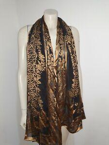Black Gold Pure Silk Scarf Shawl Craft Fabric Home Decor