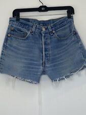 Women's Vintage Levi's 501 Cut Off Shorts Sz 32 High Rise Medium Wash Denim