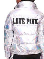 Victoria's Secret Pink Fashion Metallic Puffer Jacket iridescent holographic ski