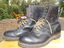 70's Usa Union Made Black Leather Safety Rated Addison Boots Men's Size 8 1/2 E