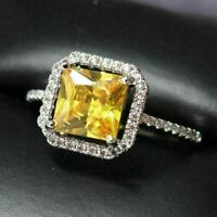 Gorgeous Citrine Halo Ring Women Jewelry Wedding Birthday Gift Nickel Free