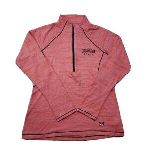 Womens UNDER ARMOUR Shirt Medium 1/4 Zip Orange Long Sleeve Semi Fitted Oklahoma