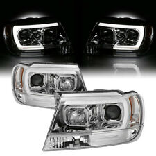 {1999-2004 Jeep Gand Cherokee WJ} U-Bar Neon LED DRL Projector Headlight Lamp