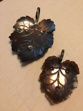 Vintage Coppercraft Guild Leaf Dishes - 1 Large & 1 Small