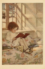 Postcard: Vintage repro print- Girl Reads Book in Window Seat - Snow