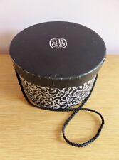 Vintage Black Hat Box Gb Brand Small Woman's Leaf Vine Print Paper Silk Cord