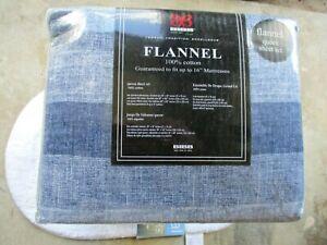 Bibb Home 100% Cotton Solid Flannel Sheet Set - Cozy, Soft, Deep Pocket Sheets